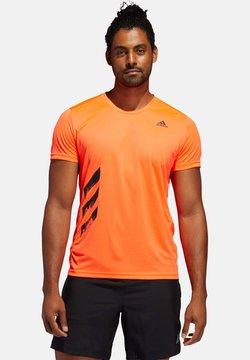 "adidas Performance - ADIDAS PERFORMANCE HERREN LAUFSHIRT ""RUN IT TEE PB 3 STRIPES"" - T-Shirt print - orange"