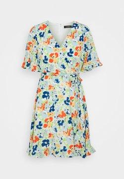 Lauren Ralph Lauren Petite - ALANETTA SHORT SLEEVE DAY DRESS - Freizeitkleid - colonial cream/blue/multi