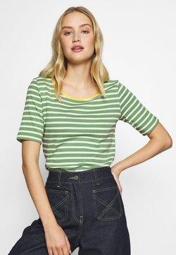 TOM TAILOR - STRIPE CONTRAST NECK - T-Shirt print - green