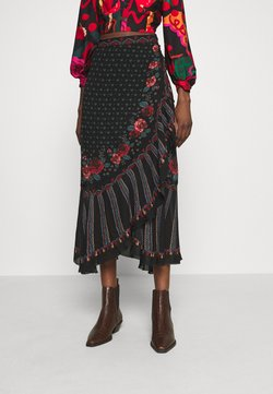 Farm Rio - EMBROIDERED FLORAL WRAP SKIRT - Bleistiftrock - black
