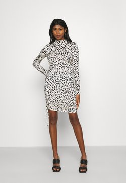 Missguided - DALMATION SLINKY RUCHED MINI - Cocktail dress / Party dress - white/black