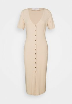 Glamorous - BUTTON MIDI DRESS WITH SHORT SLEEVES LOW V-NECK - Kjole - stone rib