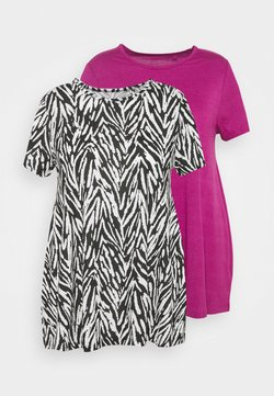 CAPSULE by Simply Be - SHORT SLEEVE SWING TUNICS 2 PACK - T-shirts print - orchid