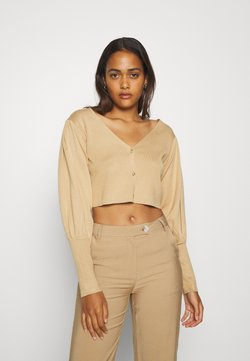 Missguided - BALLOON SLEEVE CROPPED CARDIGAN - Gilet - tan