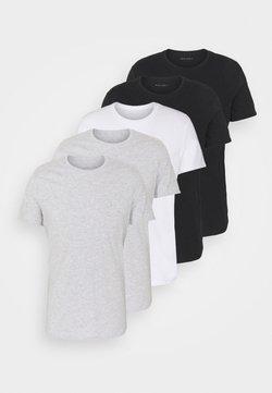Pier One - 5 PACK - T-shirts basic - black/white