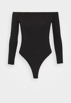 Missguided Petite - LONG SLEEVED BARDOT BODYSUIT - Maglietta a manica lunga - black