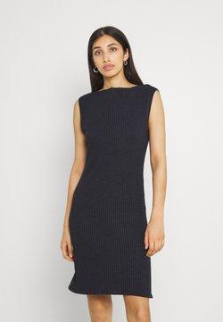 NU-IN - BOAT NECK SIDE SPLIT MINI DRESS - Strikkjoler - blue/black