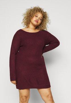 Missguided Plus - PLUS OFF SHOULDER JUMPER DRESS - Strickkleid - burgundy