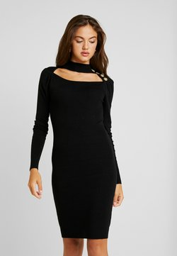 Lost Ink - OPEN NECK CUT OUT SIDE BUTTON NECK DRESS - Shift dress - black