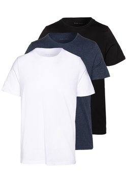 Pier One - 3 PACK - Basic T-shirt - black/white/blue