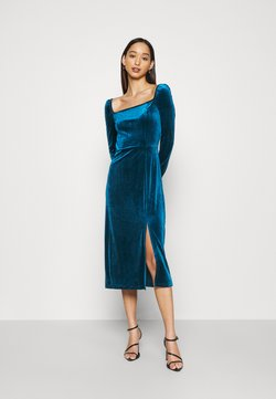 Glamorous - MIDI DRESS WITH LONG SLEEVES SQUARE NECK AND FRONT SIDE SPLIT - Sukienka letnia - dark blue
