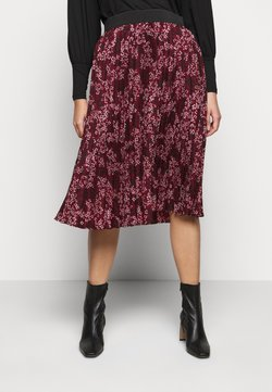 CAPSULE by Simply Be - FLORAL PLEAT MIDI SKIRT - A-Linien-Rock - berry