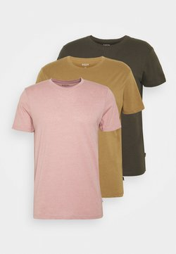 Burton Menswear London - SHORT SLEEVE CREW 3 PACK - Basic T-shirt - stone/dark green/pink