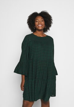 Simply Be - CHECK TIERED SMOCK DRESS - Freizeitkleid - green