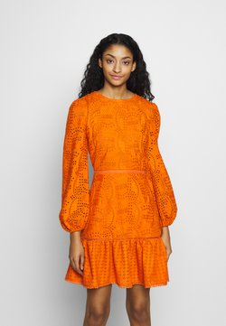 Glamorous - BRODERIE ANGLAIS LONG SLEEVE DRESS - Kjole - bright orange