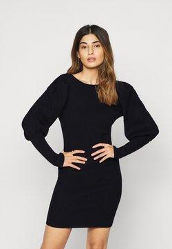 Glamorous Petite - PUFF SLEEVE DRESS WITH LOW BACK - Sukienka dzianinowa - black