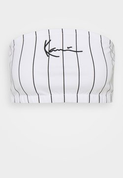Karl Kani - SMALL SIGNATURE PINSTRIPE BANDEU - Top - white