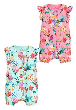 Next - PINK 2 PACK TROPICAL LEAF ROMPERS (0MTHS-3YRS) - Overall / Jumpsuit - pink