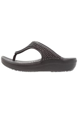 Crocs - SLOANE EMBELLISHED FLIP - Tongs - black