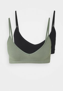 Cotton On Body - SEAMFREE BRALETTE 2 PACK - Bustier - black/cool avocado