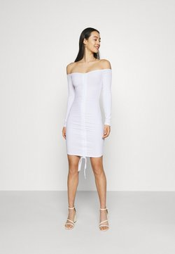 Missguided - RUCHED FRONT MINI - Jerseykleid - white