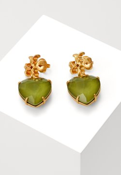 Tory Burch - CARVED KIRA HEART EARRING - Pendientes - olive