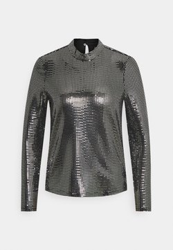 Vero Moda Tall - VMKYLIE HIGHNECK - Blusa - black/silver