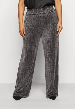Vero Moda Curve - VMKAIDACOCO WIDE PANT - Spodnie materiałowe - black/silver