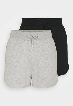 Even&Odd Tall - 2 PACK - Pantalones - black/mottled light grey