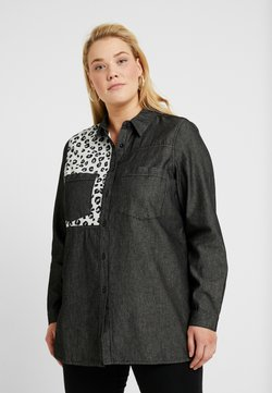 Simply Be - ANIMAL PATCH LONGLINE - Chemisier - washed black