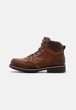 Tommy Hilfiger - CHECK LINING BOOT - Schnürstiefelette - natural cognac