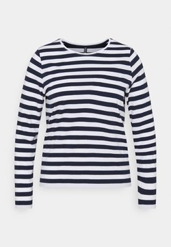 Pieces Curve - PCRIA NEW TEE - Langarmshirt - bright white/maritime navy