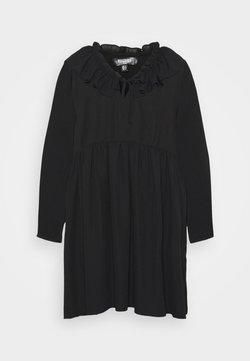 Missguided Plus - FRILL NECK LONG SLEEVE SMOCK DRESS - Freizeitkleid - black