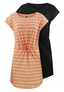 ONLY - ONLMAY 2 PACK - Jerseykleid - coral sands primo stripe
