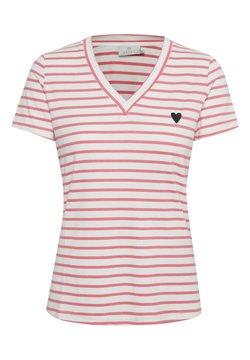 Kaffe - KALIDDY V-NECK  - T-Shirt print - coral