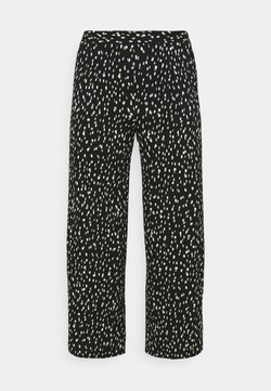 CAPSULE by Simply Be - CREPE WIDE LEG TROUSERS PRINTED - Stoffhose - mono