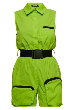 Missguided - FESTIVAL EXCLUSIVE SHELL SEATBELT PLAYSUIT - Combinaison - neon green