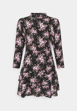 Dorothy Perkins Petite - MINI TIERRED HIGH NECK DRESS - Freizeitkleid - pink