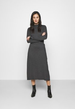 Vero Moda - VMSHARM HIGHNECK DRESS VIP - Strikkjoler - dark grey melange