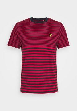 Lyle & Scott - MULTI STRIPE - T-shirt con stampa - dark navy/chilli pepper red