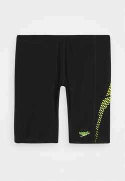 Speedo - PLASTISOL PLACEMENT JAMMER - Shorts da mare - black/Lava Red/fluorecent yellow