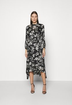 Dorothy Perkins - LARGEFLORAL HEMMIDI DRESS - Freizeitkleid - black