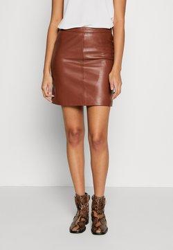 Object - OBJCHLOE SKIRT SEASONAL - Leather skirt - brown patina
