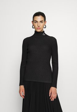 Calvin Klein Jeans - ROLL NECK - Strickpullover - black/bright white