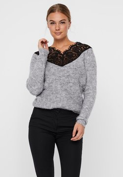 Vero Moda - Strickpullover - light grey melange
