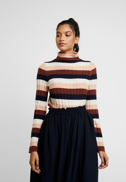 Madewell - STRIPE IAN INLAND TURTLENECK - Strickpullover - heather quinoa cream/pink/brown/navy