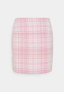 Missguided - BRUSHED CHECK MINI SKIRT - Minihame - pink