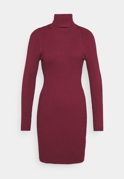 ONLY - ONLELLY ROLLNECK DRESS - Strickkleid - tawny port