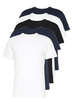 Pier One - 5 PACK - T-shirt basic - black/white/blue