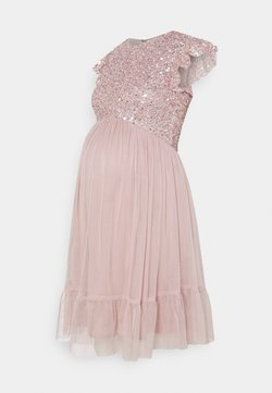 Maya Deluxe Maternity - DELICATE SEQUIN RUFFLE SLEEVE MINI DRESS - Cocktailklänning - frosted pink